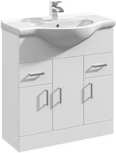 Italia Furniture Vanity Unit & Ceramic Basin Type 1 (755mm, White).