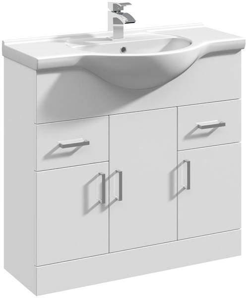 Italia Furniture Vanity Unit & Ceramic Basin Type 1 (855mm, White).