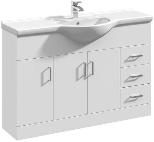 Italia Furniture Vanity Unit & Ceramic Basin Type 1 (1200mm, White).