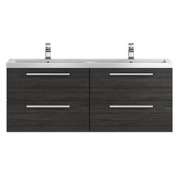 Hudson Reed Quartet Wall Vanity Unit & Double Basin 1440mm (H Black).