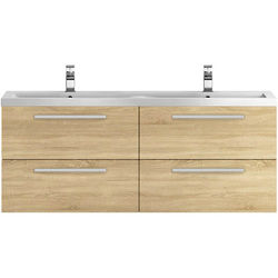 Hudson Reed Quartet Wall Vanity Unit & Double Basin 1440mm (N Oak).