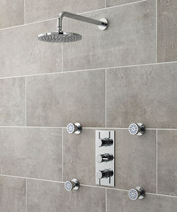Ultra Quest Quest Triple Thermostatic Shower Valve, Head & Body Jets.