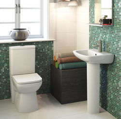 Premier Renoir Compact Flush To Wall Toilet With 450mm Basin & Pedestal.