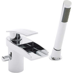 2 Hole Waterfall Bath Shower Mixer Tap Free Shower Kit