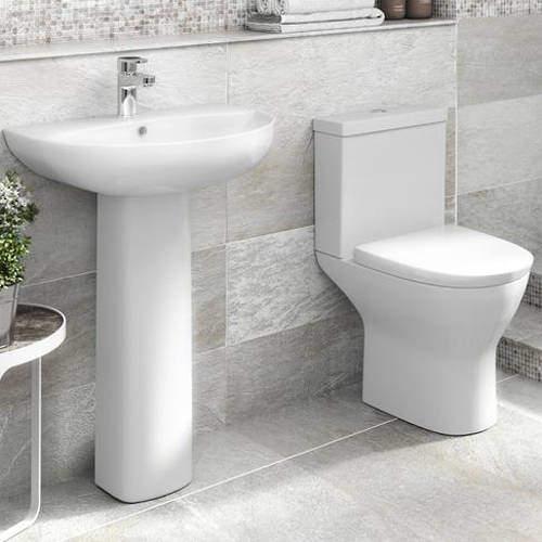 Premier Saffron Bathroom Suite With Pan, Cistern, Basin & Full Pedestal.