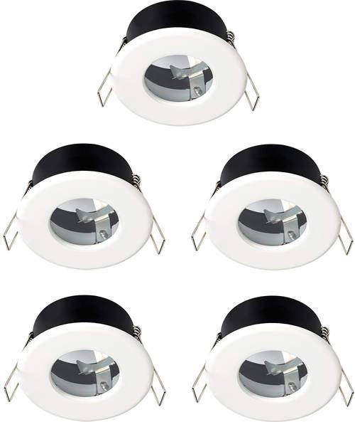 Hudson Reed Lighting 5 x Shower Spot Lights & Warm White LED Lamps (White).