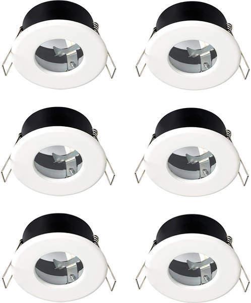 Hudson Reed Lighting 6 x Shower Spot Lights & Warm White LED Lamps (White).