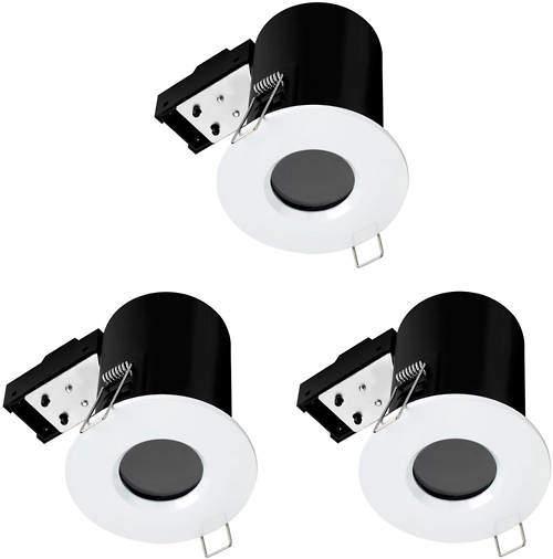 Hudson Reed Lighting 3 x Fire & Acoustic Spot Light & C White LED Lamps (White).