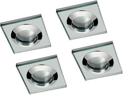 Hudson Reed Lighting 4 x Square Shower Light Fitting (240v, Glass & Chrome).