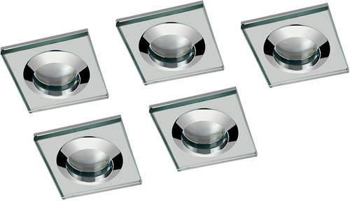 Hudson Reed Lighting 5 x Square Shower Light Fitting (240v, Glass & Chrome).