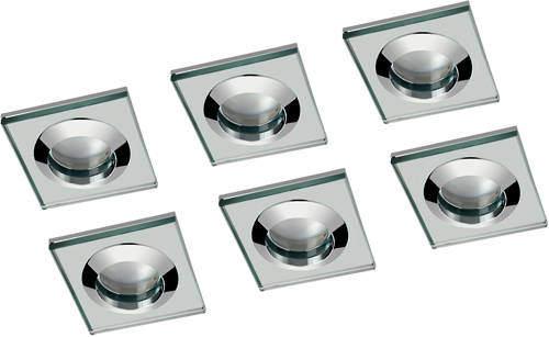 Hudson Reed Lighting 6 x Square Shower Light Fitting (240v, Glass & Chrome).