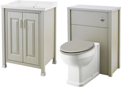 Old London Furniture 600mm Vanity & 600mm WC Unit Pack (Stone Grey).