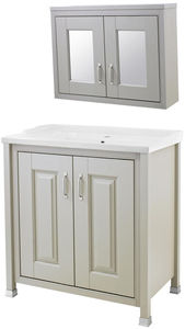 Old London Furniture 800mm Vanity & Mirror Cabinet Pack (Stone Grey).