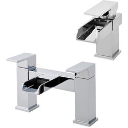 Hudson Reed Strike Waterfall Basin & Bath Filler Tap Set (Chrome).