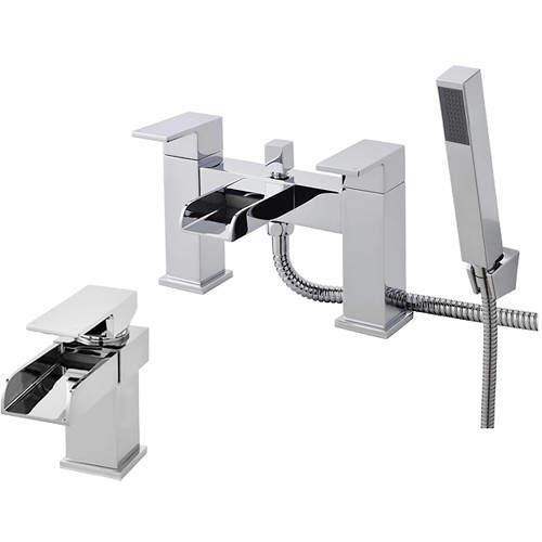 Nuie Strike Waterfall Basin & Bath Shower Mixer Tap Pack (Chrome).