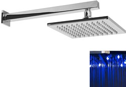 Premier Showers Square LED Shower Head With Wall Arm (200x200mm, Chrome).