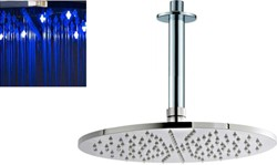 Premier Showers Round LED Shower Head With Ceiling Arm (300mm).