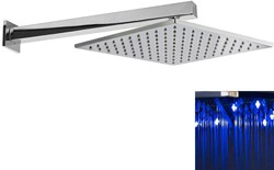 Premier Showers Square LED Shower Head With Wall Arm (300x300mm, Chrome).