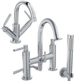 Hudson Reed Tec Basin & Bath Shower Mixer Tap Set (Free Shower Kit).