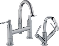 Hudson Reed Tec Basin Mixer & Bath Filler Tap Set (Chrome).