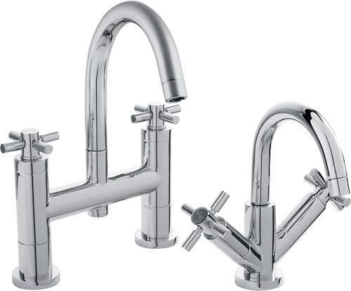 Hudson Reed Tec Basin Mixer & Bath Filler Tap Set (Chrome).