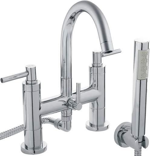 Hudson Reed Tec Bath Shower Mixer Tap, Small Spout & Lever Handles.