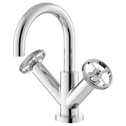 HR Revolution Basin Mixer Tap With Industrial Handles (Chrome).