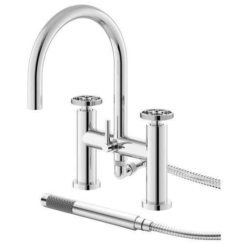 HR Revolution Bath Shower Mixer Tap With Industrial Handles (Chrome).