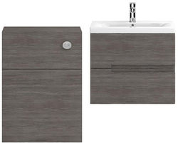 HR Urban 600mm Wall Vanity With 600mm WC Unit & Basin 1 (Grey Avola).