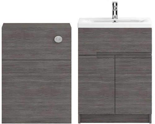HR Urban 600mm Vanity With 600mm WC Unit & Basin 2 (Grey Avola).