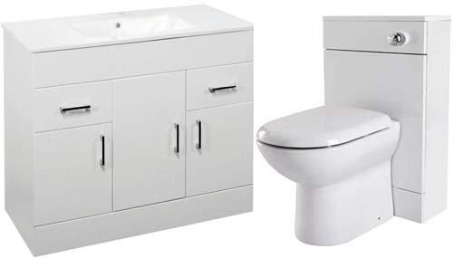 Premier Eden 1000mm Vanity Unit Suite With BTW Unit, Pan & Seat.