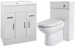 Premier Cardinal 800mm Vanity Unit Suite With BTW Unit, Pan & Seat (White).