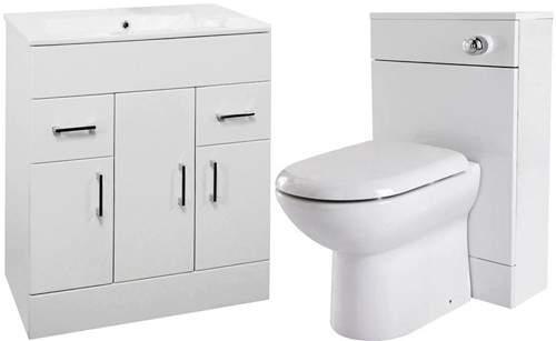 Premier Eden 800mm Vanity Unit Suite With BTW Unit, Pan & Seat (White).