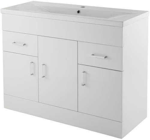 Premier Eden Vanity Unit With Doors & Basin (White). 1000x800mm.