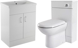 Premier Eden 600mm Vanity Unit Suite With BTW Unit, Pan & Seat (White).