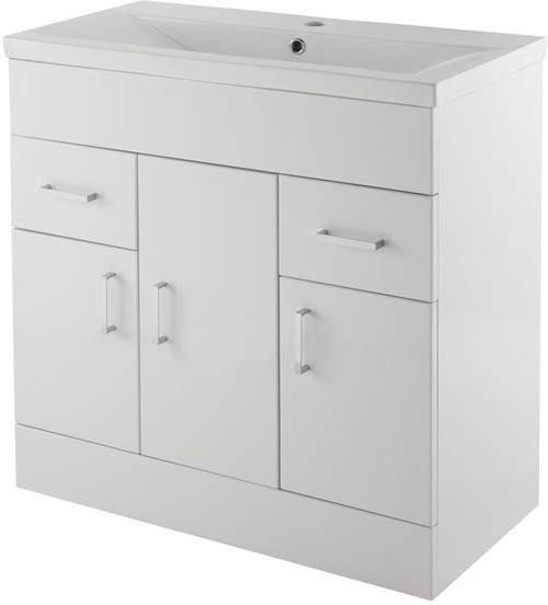 Premier Eden Vanity Unit With Doors & Basin (White). 800x800mm.