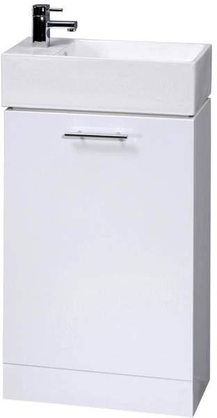Italia Furniture Compact Vanity Unit & Basin (White). 480x825mm.