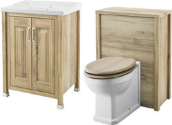 Old London Furniture 600mm Vanity & 600mm WC Unit Pack (Walnut).