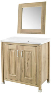 Old London Furniture 800mm Vanity & 600mm Mirror Pack (Walnut).