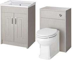 Old London York 600mm Vanity Unit & 500mm WC Unit Pack (Grey).