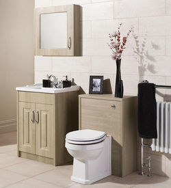 Old London York 600mm Vanity, 500mm WC Unit & Mirror Cabinet Pack (Oak).