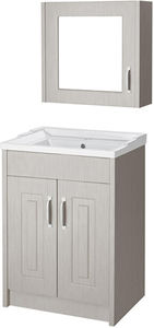 Old London York 600mm Vanity Unit & Mirror Cabinet Pack (Grey).