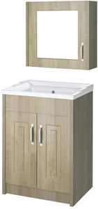 Old London York 600mm Vanity Unit & Mirror Cabinet Pack (Oak).