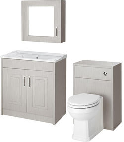 Old London York 800mm Vanity, 500mm WC Unit & Mirror Cabinet Pack (Grey).