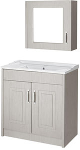 Old London York 800mm Vanity Unit & Mirror Cabinet Pack (Grey).