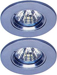 Lights 2 x Mains 240V polished chrome halogen downlighter with lamp.