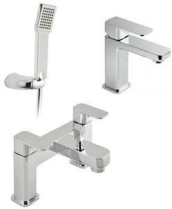Vado Phase Basin Mixer & Bath Shower Mixer Tap Pack With Shower Kit.