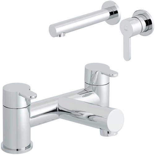 Vado Sense Wall Mounted Basin & Bath Filler Taps Pack (Chrome).