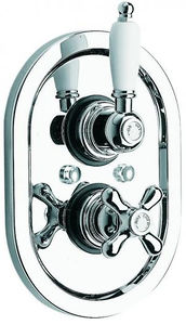 "Vado Westbury Thermostatic Shower Valve (Chrome & White, 3/4"")."