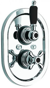 "Vado Westbury Thermostatic Shower Valve (Chrome & Black, 3/4"")."
